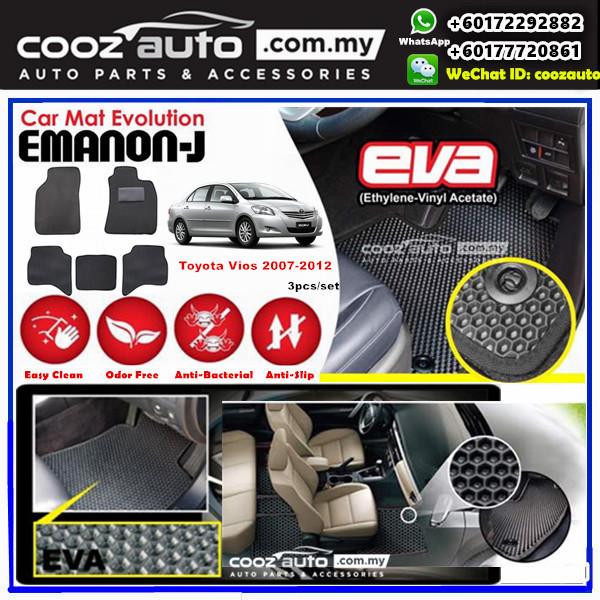 Toyota Vios 2007-2012 EMANON-J EVA Customized Odor-Free Anti-Bacterial Car Floor Mats Waterproof Carpet