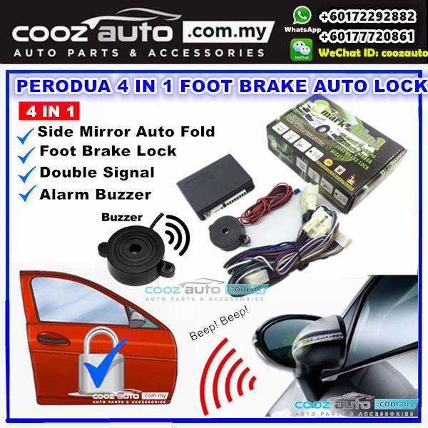 A-Mark Perodua Myvi OLD 2006-2010 4 in 1 Alarm Buzzer + Double Signal + Foot Brake Lock + Auto Folding