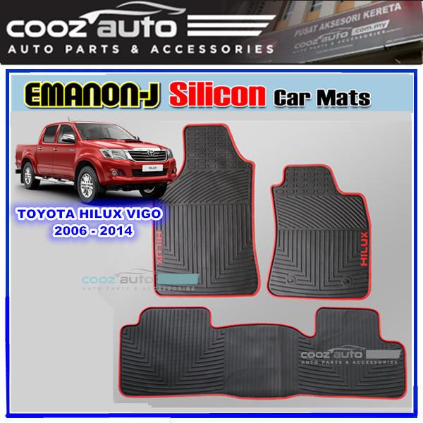 Toyota Hilux Vigo 2006-2014 EMANON-J Silicon Car Floor Mats Skidproof Waterproof Carpet
