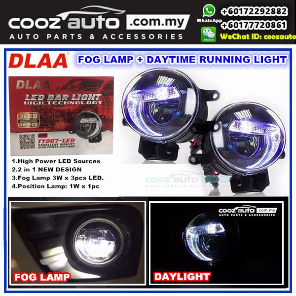 Perodua Alza 2006-2016 3in1 2in1 3.5 Inch DLAA LED Daytime Running Light DRL Fog Lamp (WHITE Color)