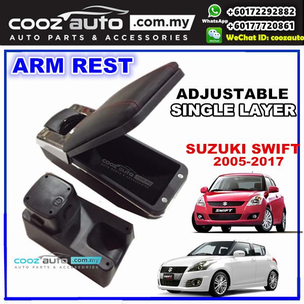 Suzuki Swift 2005-2016 Single layer Adjustable Arm Rest Armrest Console Black Leather