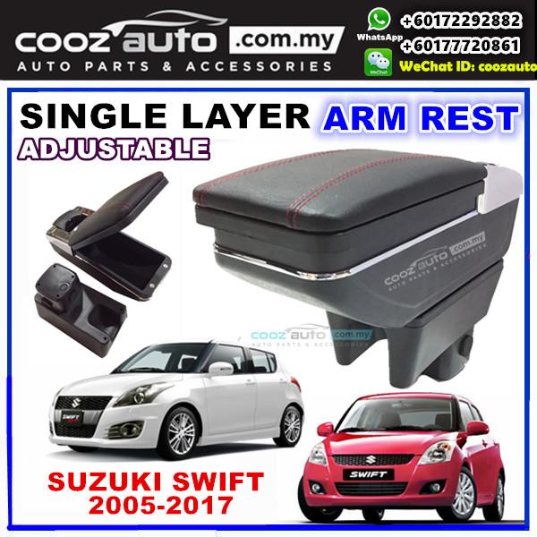 Suzuki Swift PVC Arm Rest Armrest Console Black Leather RED